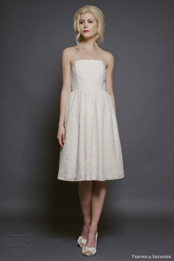veronica sheaffer bridal fall 2014 chamomile strapless knee length lace wedding dress