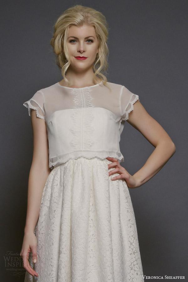 veronica sheaffer bridal fall 2014 daffodil cap sleeve crinkled chiffon blouse