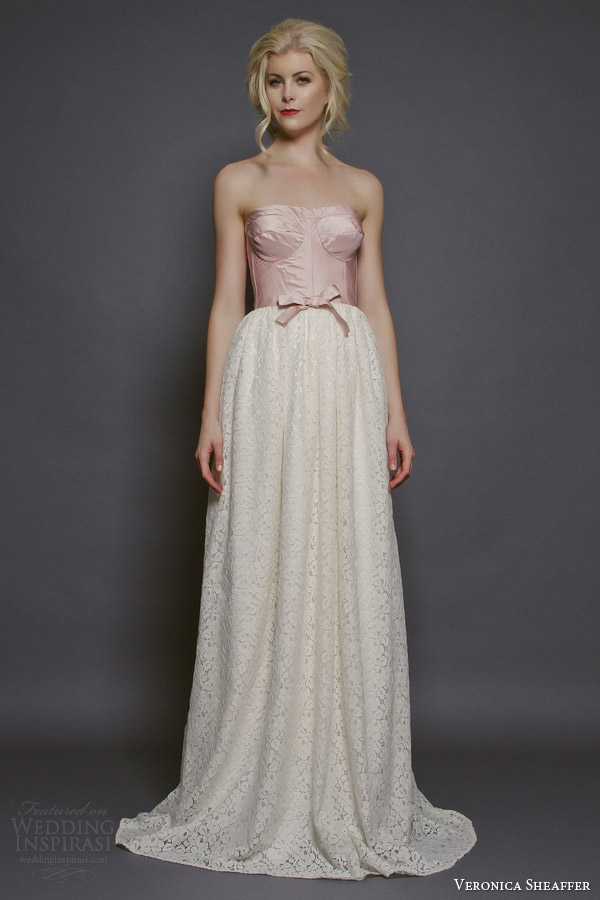 veronica sheaffer bridal fall 2014 peony strapless wedding dress pink taffeta bodice