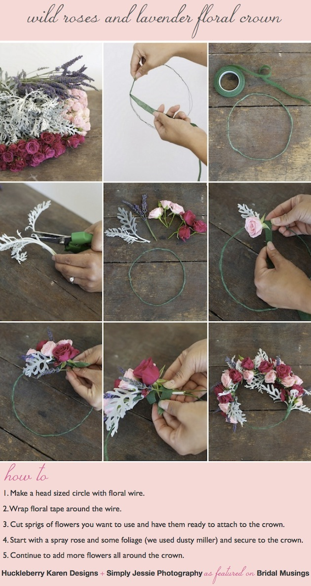 Wild roses and lavender floral crown, floral garland, floral wreath DIY tutorial