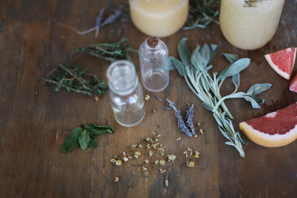 Grapefruit, herbs, bottles