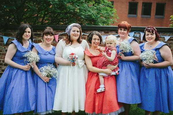 Retro Blue Bridesmaids http://jamesandlianne.com/