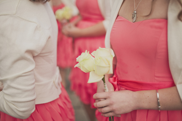 Coral Bridesmaids http://sarahjaneethan.co.uk/