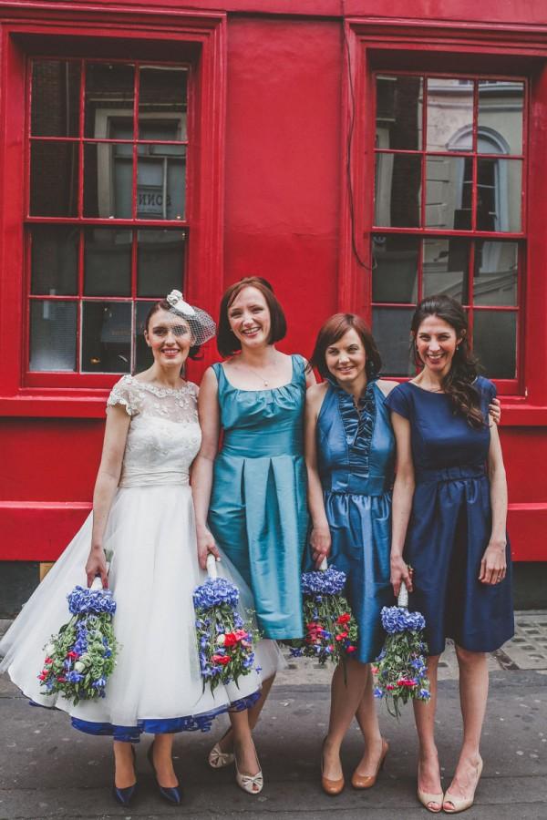 Mismatched Blue Bridesmaids http://www.jordannamarston.com/