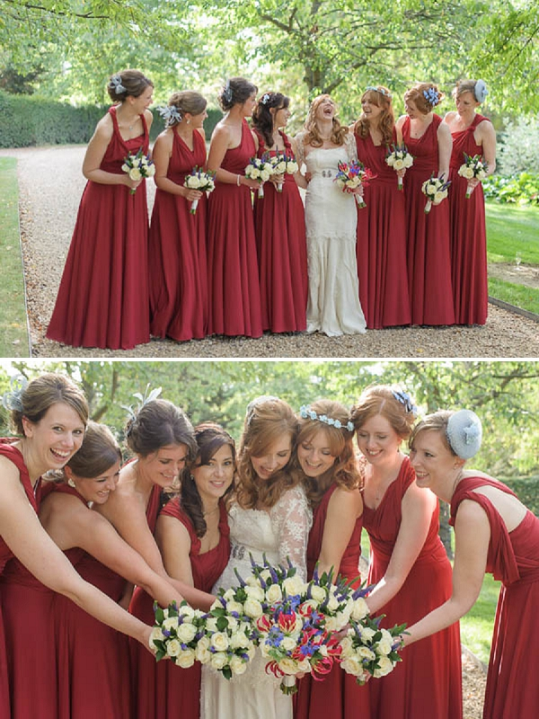 red bridesmaids http://whimsicalwonderlandweddings.com/2013/10/a-quirky-diy-orange-wedding.html