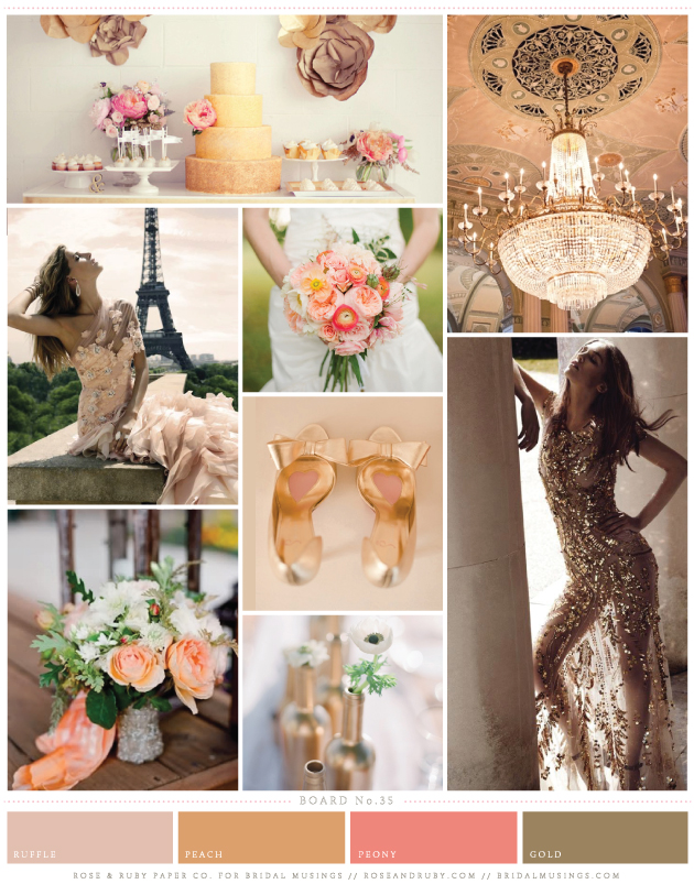 Peaches and Gold Sequins Wedding Inspiration Board | Rosy and Ruby Paper Company | Bridal Musings Wedding Blog
