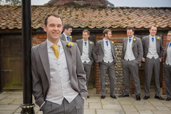 Blue Yellow Spring Wedding Yellow Tie Grey Suit Groom http://www.fullerphotographyweddings.co.uk/