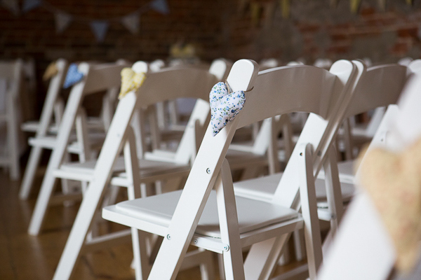 Blue Yellow Spring Wedding Chair Heart Decor http://www.fullerphotographyweddings.co.uk/