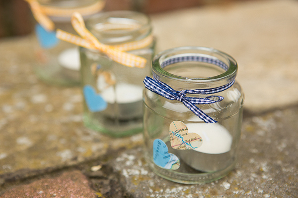 Blue Yellow Spring Wedding Jar Candles Tea Lights http://www.fullerphotographyweddings.co.uk/