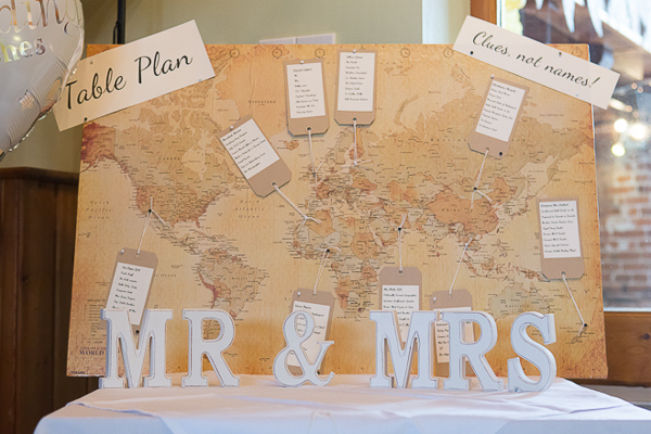 Blue Yellow Spring Wedding Map Luggage Tag Table Plan http://www.fullerphotographyweddings.co.uk/