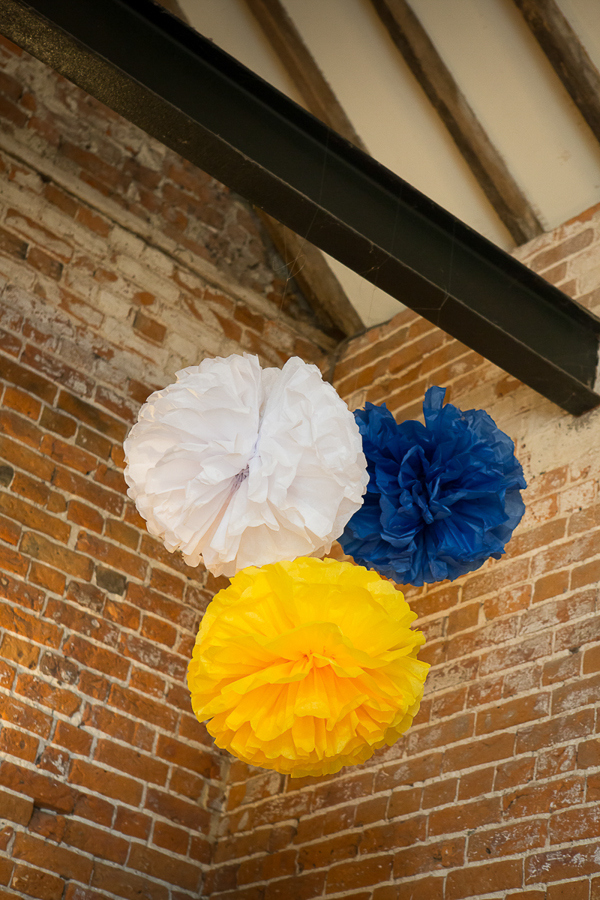 Blue Yellow Spring Wedding Pom Poms http://www.fullerphotographyweddings.co.uk/
