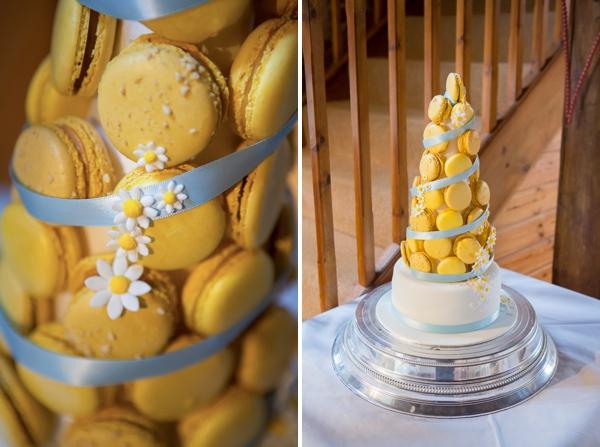 Blue Yellow Spring Wedding Macaron Cake http://www.fullerphotographyweddings.co.uk/