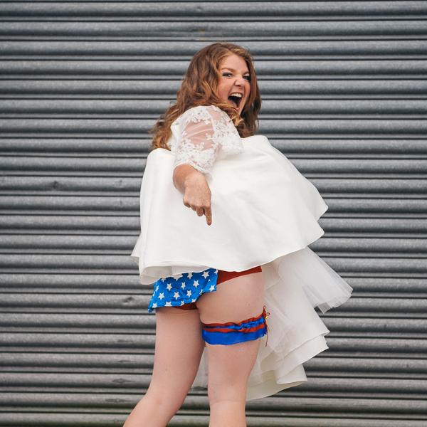 Fun Superhero Wedding Wonderwoman Knickers Bride Garter http://hollydeacondesign.com/
