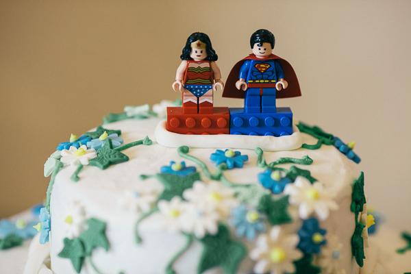 Fun Superhero Wedding Cake Lego Topper http://hollydeacondesign.com/