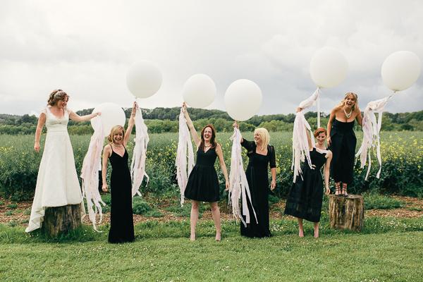 Fun Superhero Wedding Tassell Balloons Bridesmaids http://hollydeacondesign.com/