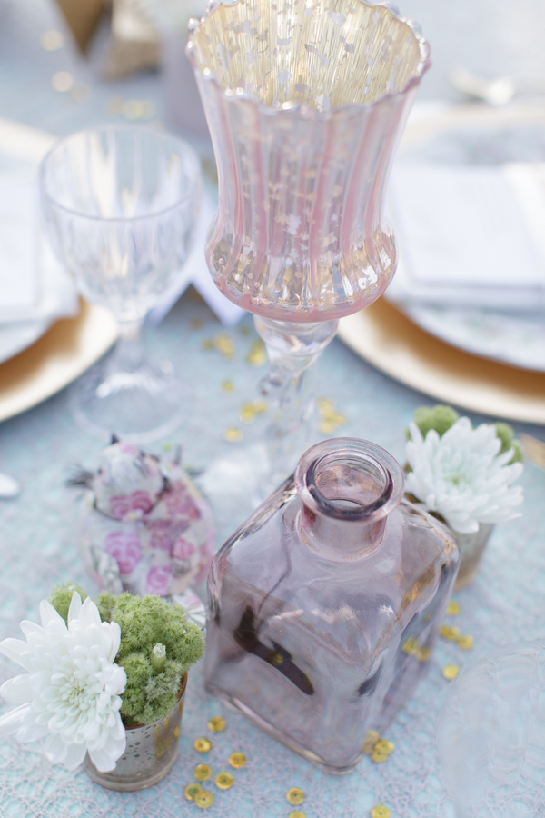 Mint Gold Pink Table Decorations